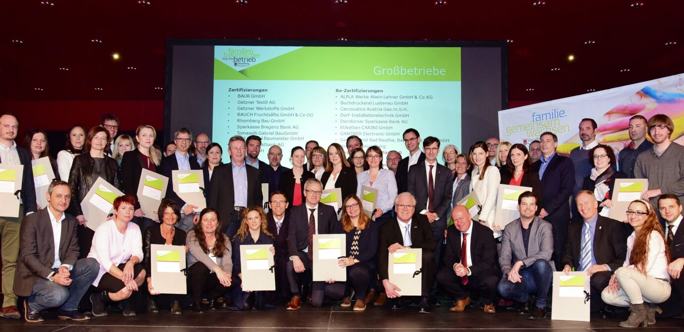 "More than 100 businesses received the ""family-friendly business"" award  from the Land Vorarlberg (Phot credit: Land Vorarlberg/Micheli)"